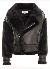 Women's Bonded Faux Fur Faux Leather Biker Jacket Fur Lined Smart Dressy Coat