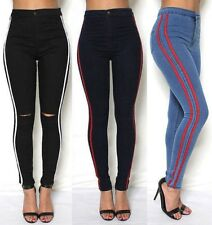 Womens High Waisted Slim Skinny Jeans Stretchy Jeggings Side Striped Pants 6-16