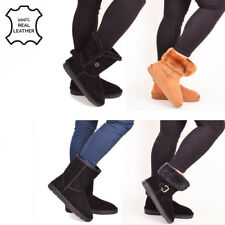 Ladies Womens Genuine Leather Real Sheepskin Winter Fur Boots Warm Shoe Size 3-8
