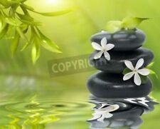 """Bildmotiv """"Spa still life, with white flowers on the black stones and bamboo..."""""""