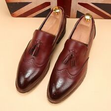 NEW Mens WingTip Dress Formal Shoes Slip On Loafers Brogue Tassel Carving Oxford