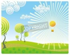 """Bildmotiv """"Kind on a landscape with a balloon in the form of the sun"""""""