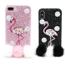 Flamingo Fashion Bling Diamond Fur A-Class Crystal Phone Case Cover