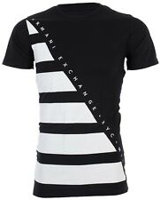 ARMANI EXCHANGE Men T-Shirt DIAGONAL STRIPE Premium BLACK WHITE Designer  $45 NWT