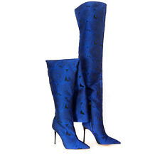 ZARA ELECTRIC BLUE FLORAL PRINT OVER-THE-KNEE HIGH HEEL BOOTS UK SIZES 4 & 5 NEW
