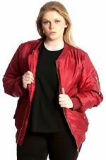 Ladies Plus Size Jacket Womens Bomber Padded Coat Zip Pockets Ribbed Nouvelle