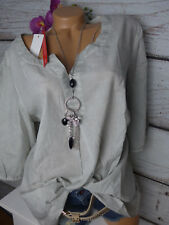 Sheego tunique blouse gr. 54 gris ton avec broderie (680) NEUF