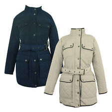 Ladies Womens Ex-Store Warm Winter Coat Jacket Diamond Quilted Belted