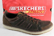 Skechers Homme Chaussures à Lacets Baskets Chaussures basses Brun cuir NEUF