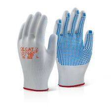 100 x Pair Click Tronix Blue Dot Nylon Knitted Grip Gripper Work Safety Gloves