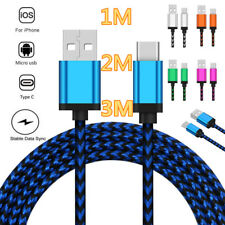 New Nylon Braided Data Sync Micro USB Type C iOS Fast Charging Cable For Android