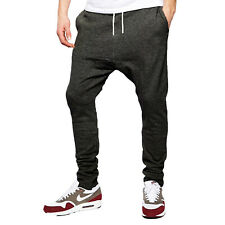 Mens ACTIVE WEAR Drop Crotch Joggers Tracksuit Bottoms Skinny Trousers Gym Pants
