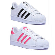 Adidas Superstar J Junior Leather Matt White Black Trainers