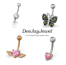 Dangle Crystal Gem Belly Button Bars Surgical Steel Navel Rings Body Jewellery