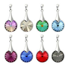Sterling Silver Round Rivoli Pendants made with 1122 10mm Swarovski® Crystals