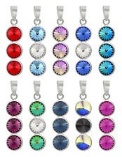 Sterling Silver Long Rivoli Pendant made with 1122 6mm Swarovski® Crystals