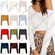 New Ladies V Neck Off The Shoulder Knitted Warm Long Sleeve Cropped Jumper Top