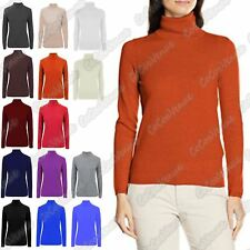 New Ladies High Polo Neck LongSleeve Plain Knitted Jumper Warm Ribbed Casual Top