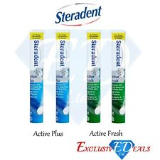 STERADENT Active Fresh Minty Active Plus Fresh Tablets Tubes 2 x 30 Tablets