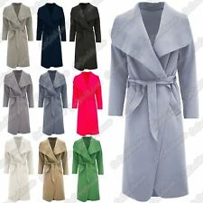 New Ladies Waterfall Italian Drape Belted Long Trench Coat Cape Cardigan Jacket