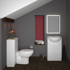 Bathroom Cloakroom 1000mm Yubo Vanity Basin BTW White Unit with Toilet and Sink
