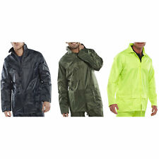 B-Dri PVC Coated Nylon Waterproof Rain Unlined Zipped Work Jacket Coat with Hood