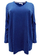 YESSICA PLUS SIZE TUNIC/TOP LONG SLEEVE ORGANIC COTTON BLUE 18-36