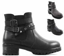 LADIES WOMENS COMBAT ARMY WORKER ZIP BUCKLE FLAT BIKER HIKING ZIP ANKLE BOOTS