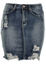 Women's Ripped Destressed Raw Hem High Waisted Denim Mini Skirt  Mid Blue
