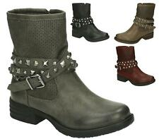 LADIES FLAT LOW HEEL ZIP ARMY MILITARY COMBAT BIKER ANKLE BOOTS SIZE 3-8