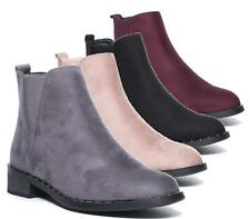 NEW WOMENS PULL ON FLAT LOW HEEL CHELSEA RIDING CASUAL FASHION ANKLE BOOT