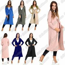 New Ladies Wrap Up Front Frill Duster Cardigan Long Sleeve Casual Long Jacket