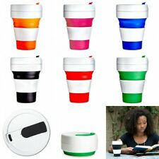 Coffee Collapsible Cup Silicone Travel Mug Reusable Leak Proof Lid Portable 12oz