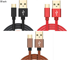 LEATHER FAST CHARGE 2.4A USB-C 3.1 Type C Charger Cable Adapter Lead TOP QUALITY