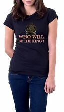 t-shirt nera - Who will be the king? - disponibile in tutte le taglie v42