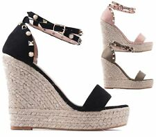 LADIES WEDGE PLATFORM STUDS STRAP FAUX SUEDE PEEP TOE ESPADRILLES SANDALS SHOES