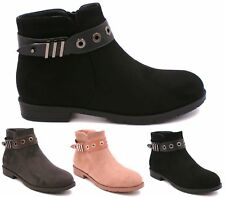 WOMENS BLACK GREY PINK FAUX SUEDE FLAT LOW HEEL ANKLE BOOTS SHOES SIZE 3-8 UK