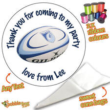 24 Personalised Rugby ball DIY Sweet Cone Ribbon Party Bags Kit Stickers 543