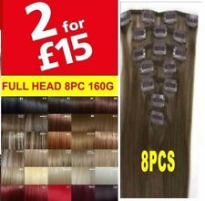 100% Real Thick Clip In Hair Extensions Long Curly Full Head Clip in Hair