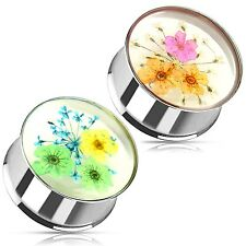 Flesh Tunnel Double flared Piercing Oreja Acero inox. Verano Flores INLAY PLUG