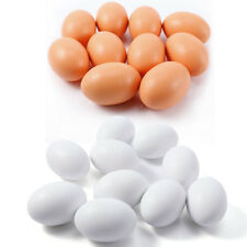 10x Hen Eggs Poultry Wooden Fake Dummy Eggs Chicken Layer Coop Cages Toys Gifts