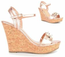 LADIES WEDGE HEEL PLATFORM SLINGBACK PEEP TOE METALLIC STUDDED SANDALS SHOES