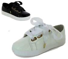 NEW LADIES FLAT LOW LACE UP RIBBON TRAINERS PUMPS SHOES WOMENS SNEAKERS SIZE
