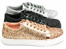 NEW LADIES FLAT LOW LACE UP GLITTER TRAINERS PUMPS SHOES WOMENS SNEAKERS SIZE