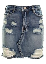 Women's Ripped Destressed Raw Hem Rigid Denim Mini Skirt  Mid Blue