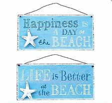 3D METAL ART BEACH WALL PLAQUE SIGN BLUE METAL WHITE STARFISH LIFE IS BETTER AT