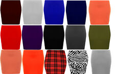 New Womens colour Stretch Elasticated Jersey Bodycon Short Mini Skirt
