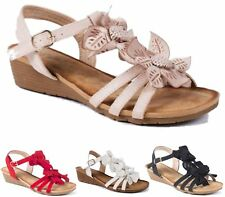 LADIES WEDGE SANDALS WOMEN HEELS STRAPPY GLADIATOR SUMMER FAUX LEATHER SHOES