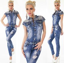 Sexy Women's Denim Jumpsuit Destroyed Look Skinny Legs Jeans Overall Size 6-14