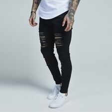 Sik Silk Distressed Skinny Jeans Jet Black